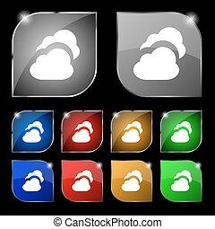 ensemble, coloré, dix, signe., glare., boutons, vecteur, nuage, icône