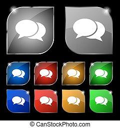 ensemble, coloré, dix, signe., glare., boutons, vecteur, parole, bulles, icône