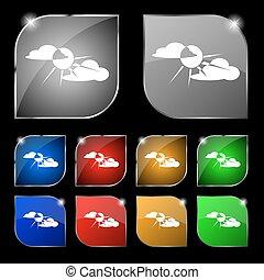 ensemble, coloré, dix, soleil, signe., glare., boutons, derrière, vecteur, nuage, icône
