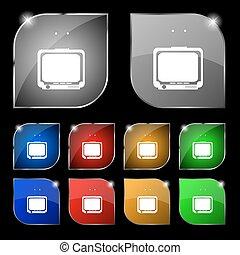 ensemble, coloré, dix, tv, signe., glare., boutons, vecteur, icône