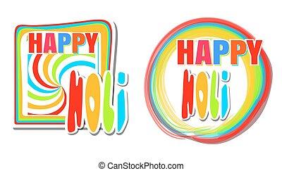 ensemble, coloré, festival, hindou, couleurs claires, printemps, bannière