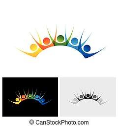 ensemble, coloré, gens, &, excité, amusement, apprécier, avoir, heureux