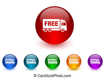 ensemble, coloré, icônes, gratuite, livraison, internet