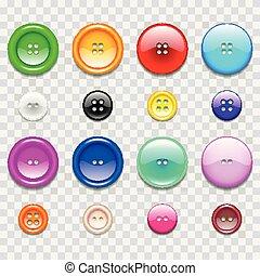 ensemble, coloré, icônes, photo, couture, boutons, réaliste, vecteur