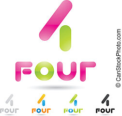 ensemble, coloré, icônes, résumé, numéro 4, 5