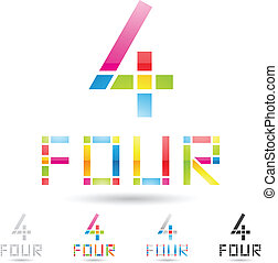 ensemble, coloré, icônes, résumé, numéro 4, 8