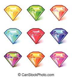 ensemble, coloré, icônes, vecteur, diamants, dessin animé