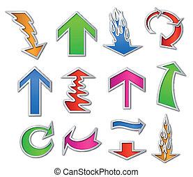 ensemble, coloré, illustration, vecteur, flèche, stickers.