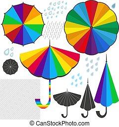 ensemble, coloré, isolé, éléments, conception, parapluies