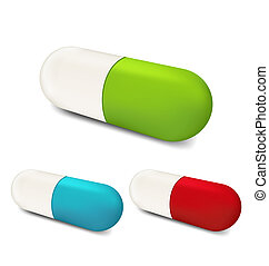 ensemble, coloré, isolé, (2), fond, blanc, pilules