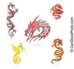ensemble, coloré, isolé, asie, dragons, signe