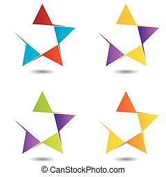 ensemble, coloré, logos, étoile