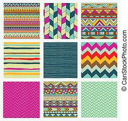 ensemble, coloré, modèle, tribal, seamless, aztèque