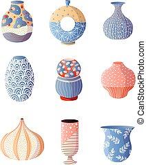 ensemble, coloré, moderne, vase, conception, intérieur, maison