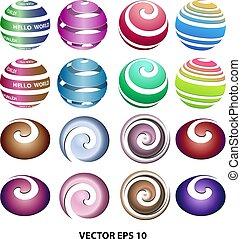 ensemble, coloré, non, boucles, fond, balles, logo, 3d