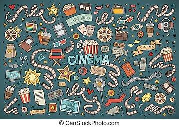 ensemble, coloré, objets, griffonnage, main, vecteur, dessiné, dessin animé