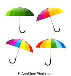 ensemble, coloré, parapluies, illustration