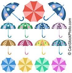 ensemble, coloré, parapluies, pluie, ouvert