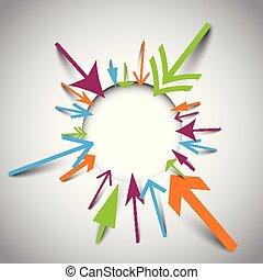 ensemble, coloré, résumé, -, illustration, flèche, vecteur, fond