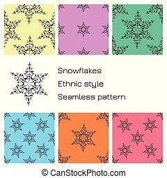 ensemble, coloré, snowflakes., modèle, backgrounds., seamless, ethnique, style.