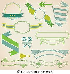 ensemble, coloré, -, texte, ton, invitation, vecteur, mariage, rubans, conception, carte