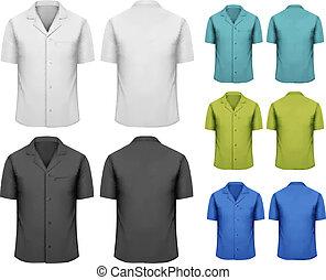 ensemble, coloré, travail, clothes., vecteur, noir, blanc