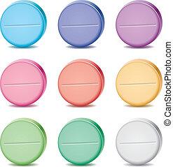 ensemble, coloré, vecteur, pilules