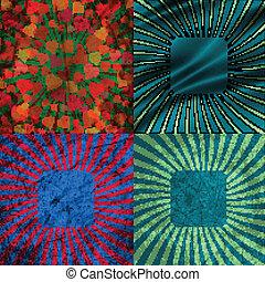 ensemble, coloré, vendange, eps10., rayons, arrière-plan., vecteur