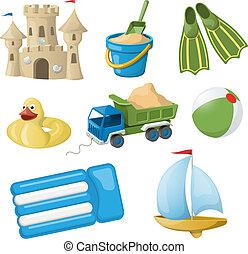 ensemble, coloré, vendange, illustration, vecteur, jouets, noël, kids.