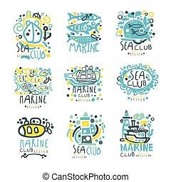 ensemble, coloré, voile, club, voyage, club yacht, étiquette, sports, vecteur, mer, illustrations, dessiné, main, marin, ou, design.
