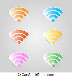 ensemble, coloré, wifi., signes