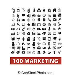 ensemble, commercialisation, 100, vecteur, icônes