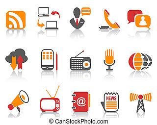 ensemble, communication, couleur, icônes simples