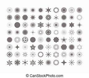 ensemble, complet, icônes, symboles, éléments, arrière-plan noir, signes, conception, 80, blanc