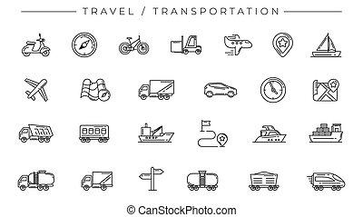 ensemble, concept, voyage, vecteur, icônes, style, ligne, transport
