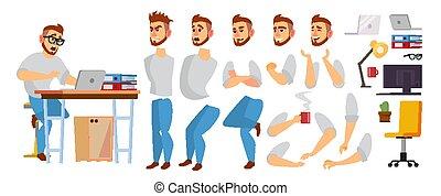 ensemble, concepteur, bureau, processus, animation., male., programmeur, créatif, environnement, fonctionnement, caractère, isolé, gestures., poses, vector., plat, entiers, illustration affaires, émotions, manager., dessin animé, studio., figure, length., ou