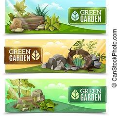 ensemble, conception jardin, bannières horizontales, paysage