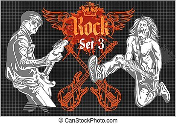 ensemble, concert, -, vecteur, rocher, rock-stars