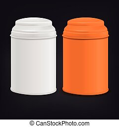 ensemble, conditionnement, étain, orange, blanc, rond