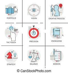 ensemble, connaissance, processus, mission, stratégie, apprentissage, portefeuille, créatif, icône