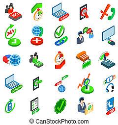 ensemble, consentement, isométrique, style, icônes