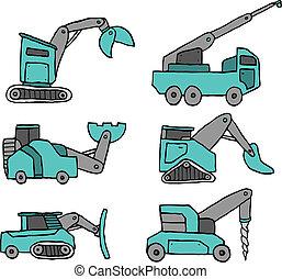 ensemble construction, dessin animé, véhicule