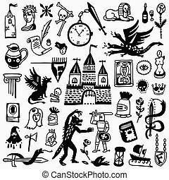 ensemble, -, conte, dessins animés, fée, histoire