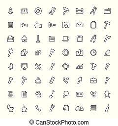 ensemble, contour, icônes