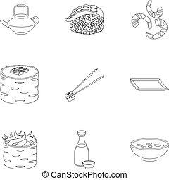 ensemble, contour, icônes, grand, symbole, sushi, collection, vecteur, illustration, style., stockage