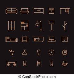 ensemble, contour, illustration, furture, vecteur, icône