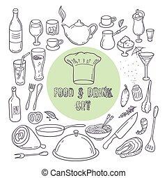 ensemble, contour, nourriture, griffonnage, boisson, icons., main, éléments, dessiné, cuisine