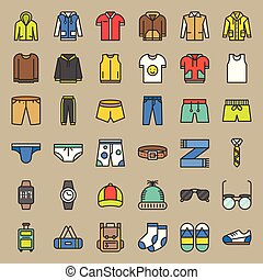 ensemble, contour, vêtements, accessoires, 2, mâle, rempli, icône