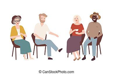 ensemble., conversation, chaque, groupe, coloré, dépenser, vecteur, vieux, boire, style., illustration, chaises, séance, gens, hommes, autre, personnes agées, rire., dessin animé, thé, plat, retiré, temps, femmes