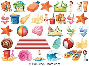 ensemble, coquilles, vagues, objet, bikini, etoile mer, thème, plage sable, château